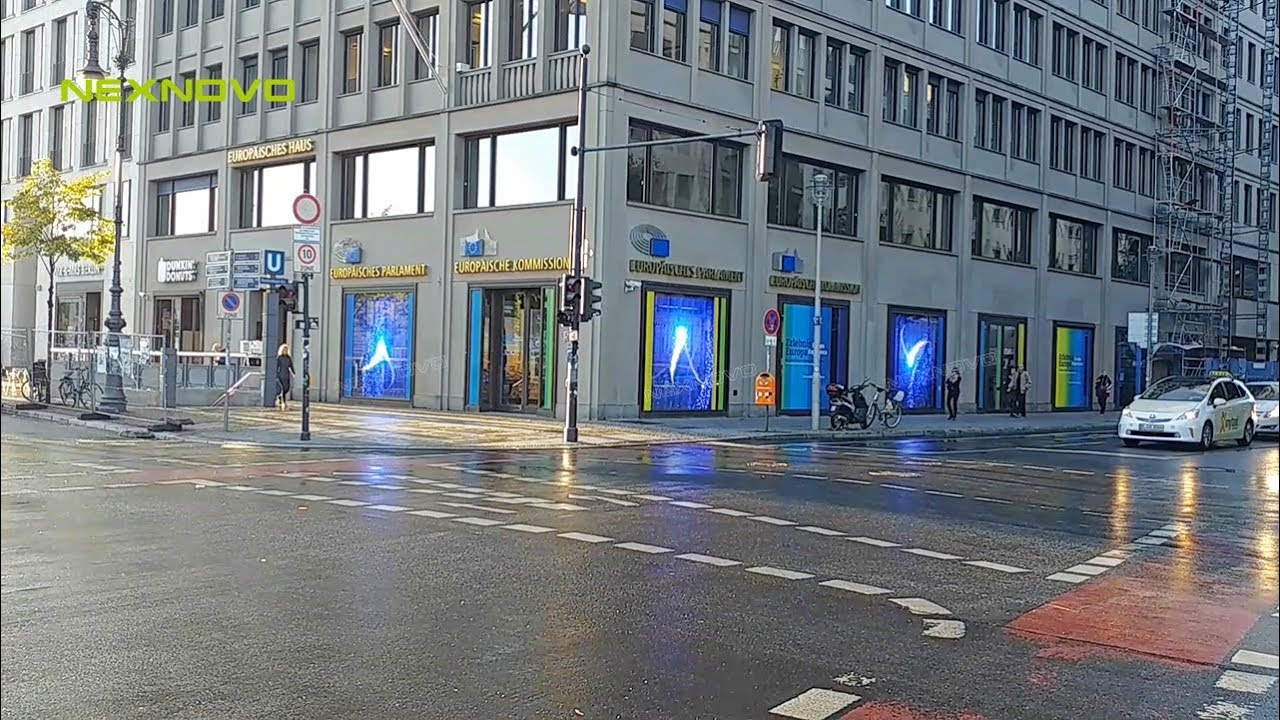European Parliament Visitor Center equipped with transparent LED glass display
