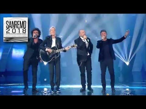 Sanremo 2018 - Nek, Pezzali e Renga cantano