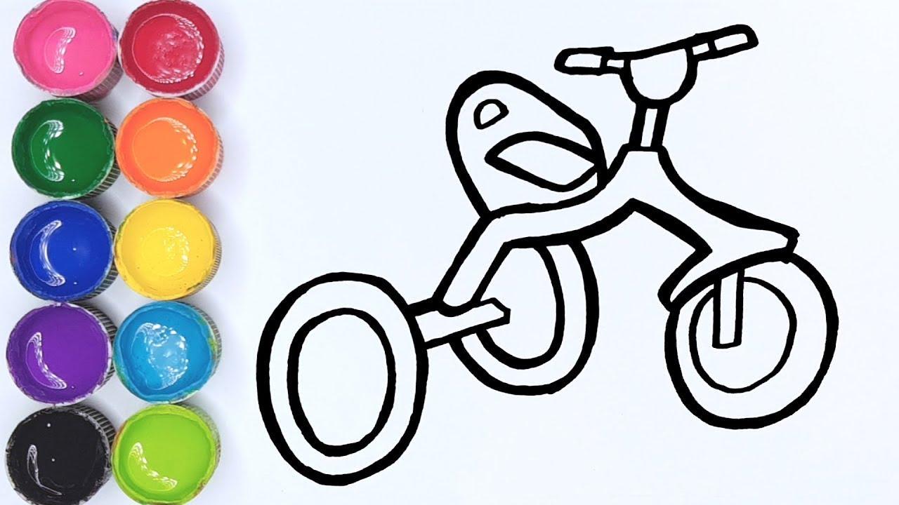 Cara Menggambar Dan Mewarnai Sepeda Roda Tiga
