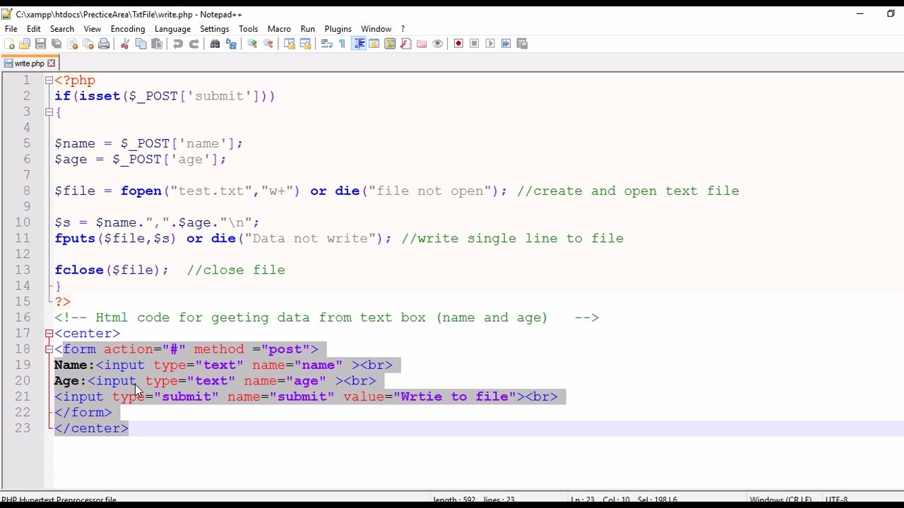 php write text file Lesson 16: writing to a text file - free tutorials on html, css and php - build your own website.