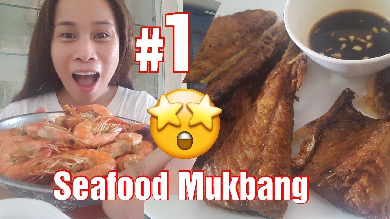 Dahil dayoff ko, nagluto at nag mukbang ako Shrimp & Fish Mukbang Buhay OFW