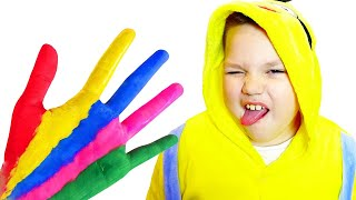 GumGumChiki Pretend Play Finger Painting Kids Art with Colored Paint