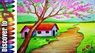 How to draw Landscape of Spring season step by step | Draw Scenery simple and easy