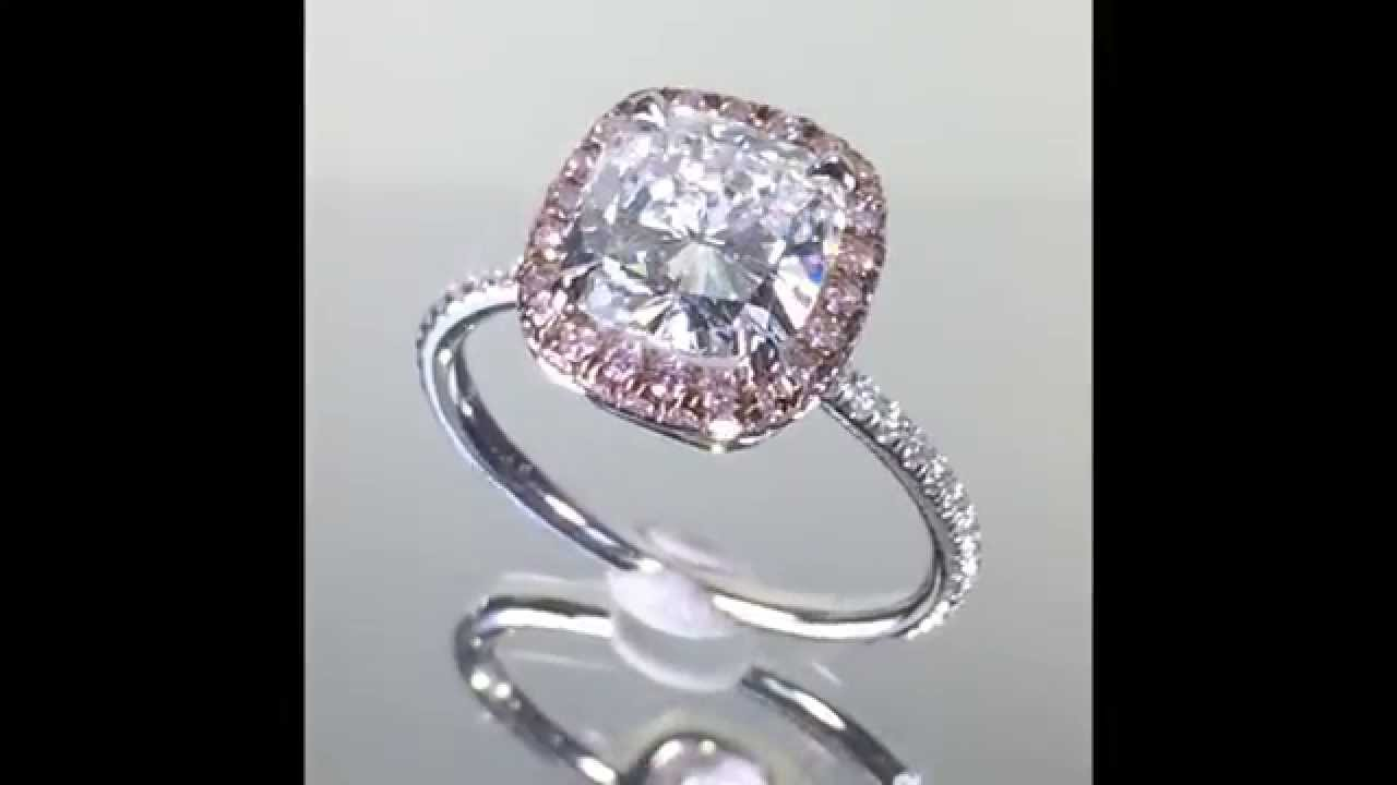 ring for diamond halo rings engagement pink sapphire cushion