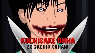 Real scary slit mouth women - Kuchisake onna | Horror stories in hindi Animated