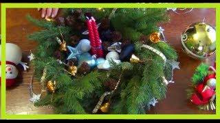 новогодняя композиция из еловых веток своими руками