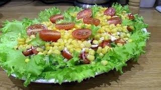 """Салат с кальмарами и овощами """"Новогодний"""" (постный)"""