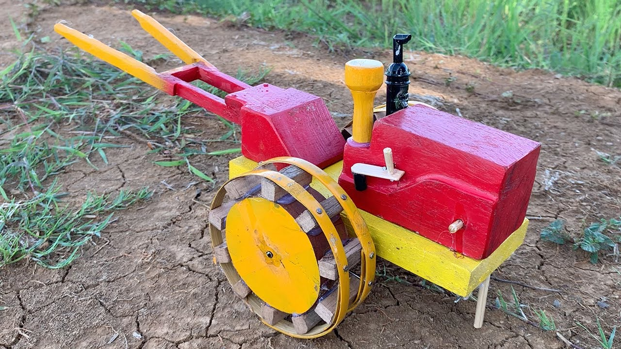DIY Wooden Tractor at Home - How To Make Mini Tractor From Wood