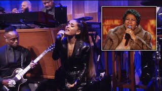 Video Ariana Grande Belts Out Emotional Tribute to Aretha Franklin download MP3, 3GP, MP4, WEBM, AVI, FLV Agustus 2018