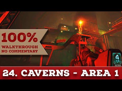 Doom 3 Walkthrough (Nightmare, All Collectibles) part 24 CAVERNS - AREA 1