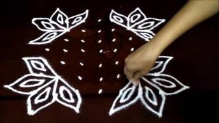 Simple lotus flower kolam with 7-7 straight | chukkala muggulu with dots| rangoli design