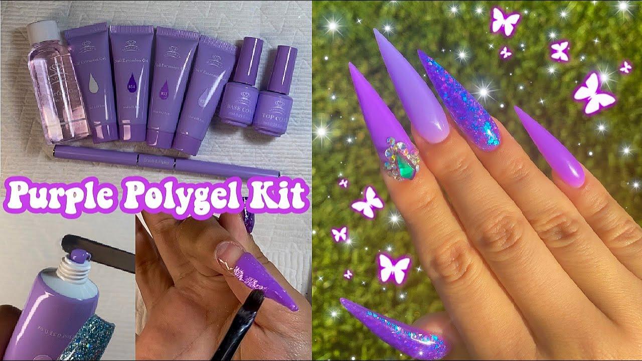 DIY TESTING MAKARTT PURPLE POLYGEL KIT! Polygel Nails Tutorial For Beginners