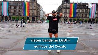 A partir de este jueves se colocaron banderas con los colores del arcoíris que representa a la comunidad LGBT+ y la bandera azul, rosa y blanco, que representa a la comunidad transgénero