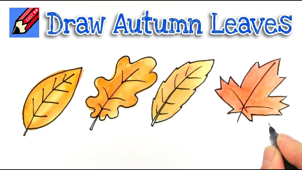 How To Draw Autumn Or Fall Leaves Real Easy Youtube