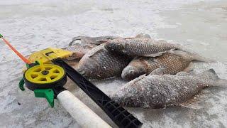 Рыбалка на КАРАСЯ зимой на МОРМЫШКУ и МОТЫЛЯ