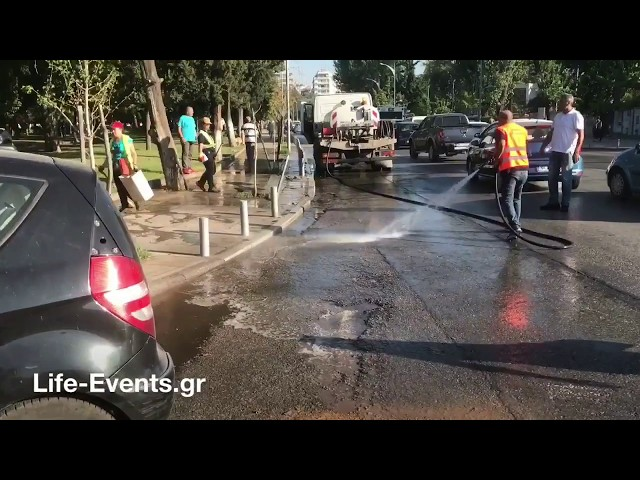 Το σημείο του ατυχήματος μηχανών με Ι.Χ. στη Θεσσαλονίκη