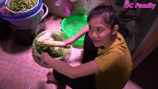 Beautiful Mom Cooking STEW PORK AND DRIED SHRIMP DIP With Cute Baby   ỐC Family