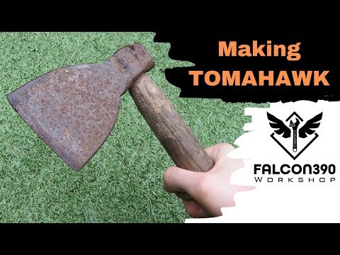 Making a tomahawk from an old rusty axe.