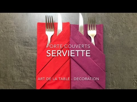 Porte couverts pliage serviette d coration de table youtube - Pliage serviette porte menu ...