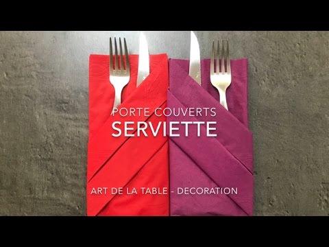 Porte Couverts Pliage Serviette Decoration De Table Youtube