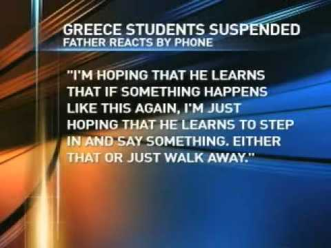 Greece students involved in bullying school bus monitor suspended from school for one year