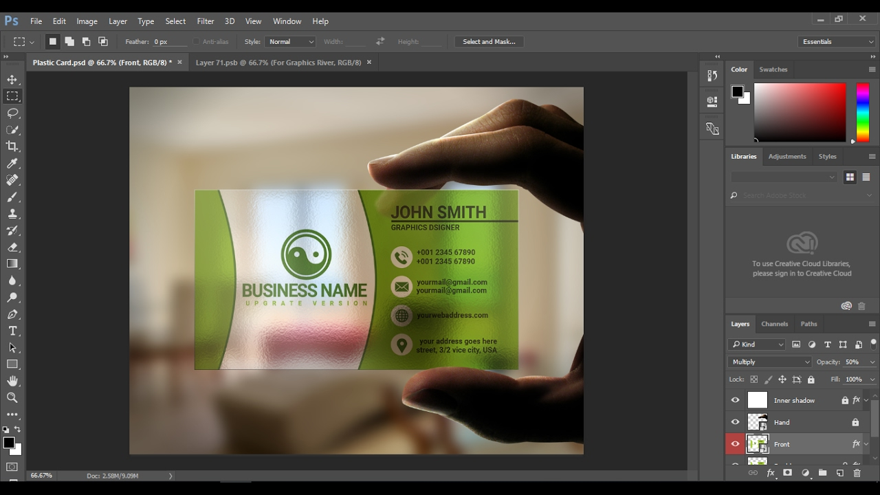How to make Business card in Illustrator cc - YouTube