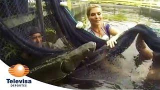 Montserrat Oliver en busca del pez pirarucus