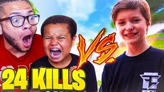 MY LITTLE BROTHER BREAKS HIS PERSONAL RECORD KILLS! 24 KILLS! CALLS OUT FaZe H1ghSky1 (FORTNITE BR)