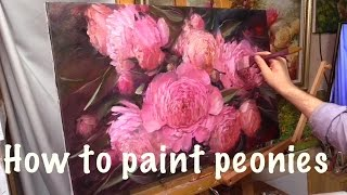 How to paint peonies. Oil painting. Workshop in English
