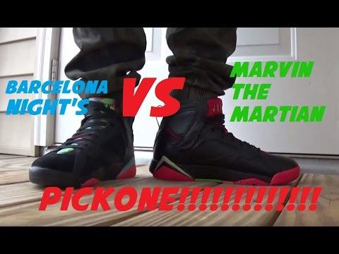 6819dd6ca9ab3c Air Jordan 7 Marvin The Martian VS Barcelona Night Shoe Battle  PickOne  With  DjDelz - YouTube
