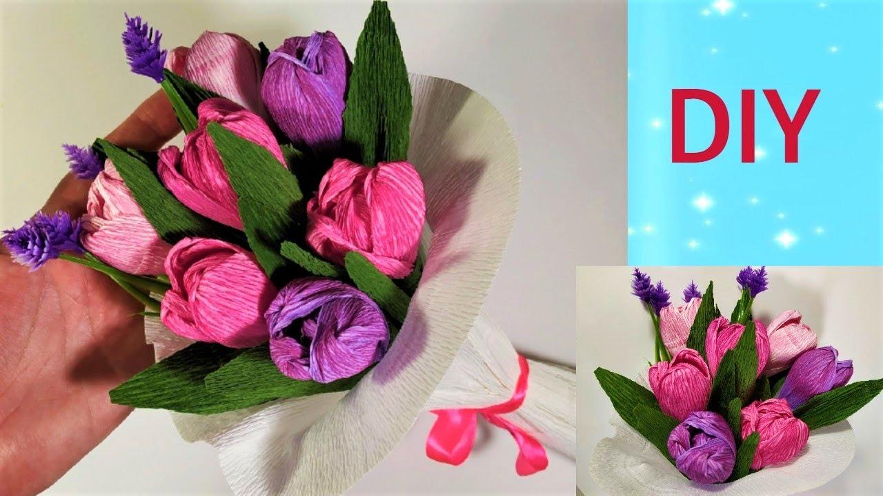 Необычные тонированные тюльпаны из гофрированной бумаги своими руками.