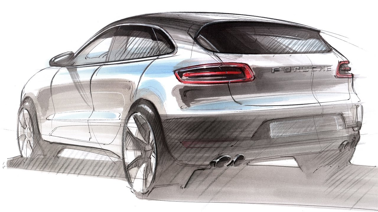 Car Design Sketch Drawing Porsche Macan Youtube