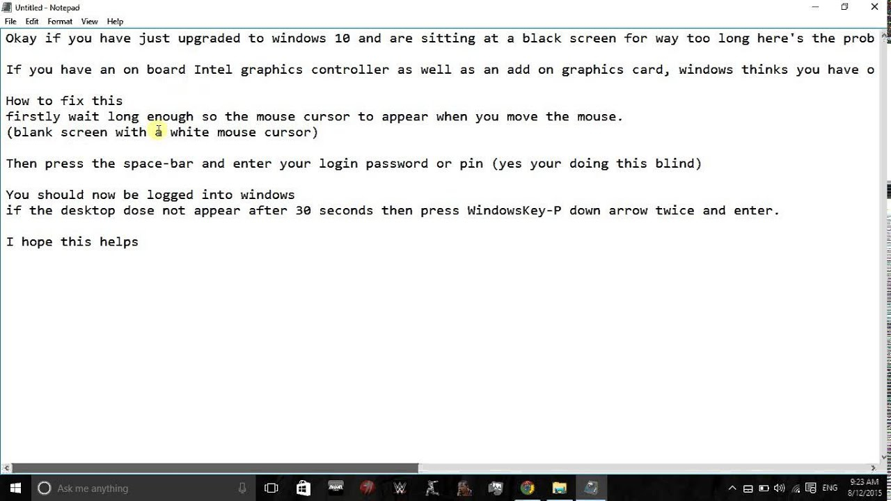 how to fix black screen with cursor