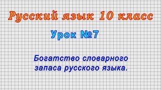 русский язык 10 класс (Урок7 - Богатство словарного запаса русского языка.)