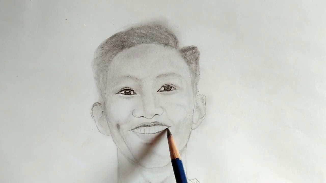 Vẽ tranh bút chì-Đoàn Văn Hậu niềm tự hào dân tộc