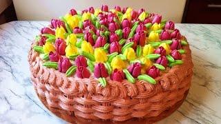 """Торт """"Корзина Тюльпанов"""" / Cake """"Basket Tulips"""" / Праздничный Торт / Пошаговый Рецепт МК"""