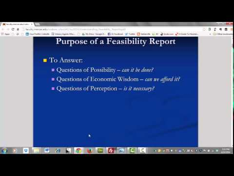 Intro to Feasibility Reports