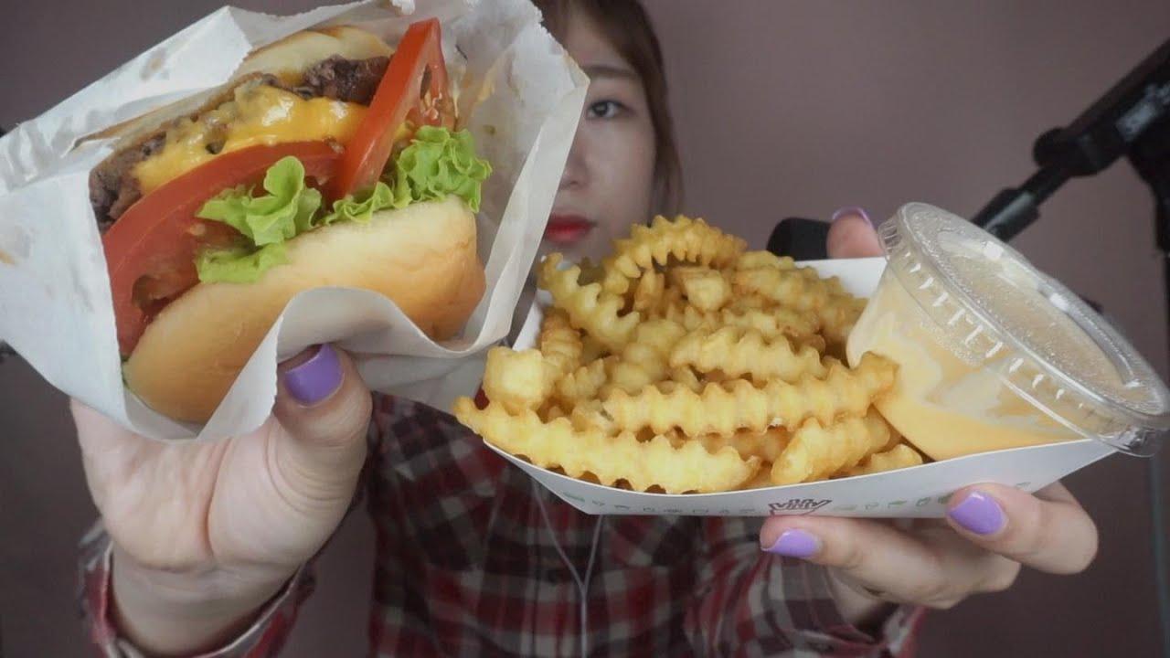 Asmr Korean Asmr Shake Shack Burger Eating Sounds Whispering