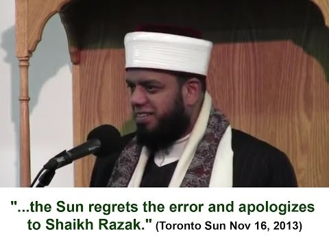 The Toronto Sun Apologizes to Shaykh Faisal Hamid Abdur Razak
