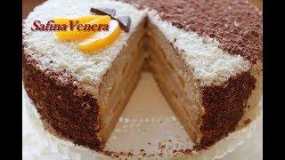 Торт Нежность с творожным кремом и персиками.  Очень вкусный! Торт в домашних условиях.