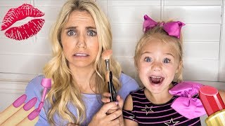 4 YEAR OLD DAUGHTER DOES MOMMY'S MAKEUP!!! thumbnail