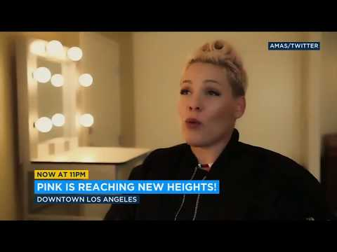 P!nk scales building, rehearses high-flying AMA performance