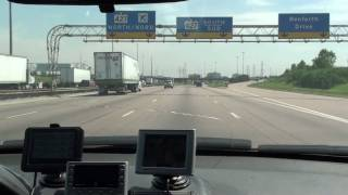 Driving on 401 around Pearson International Airport