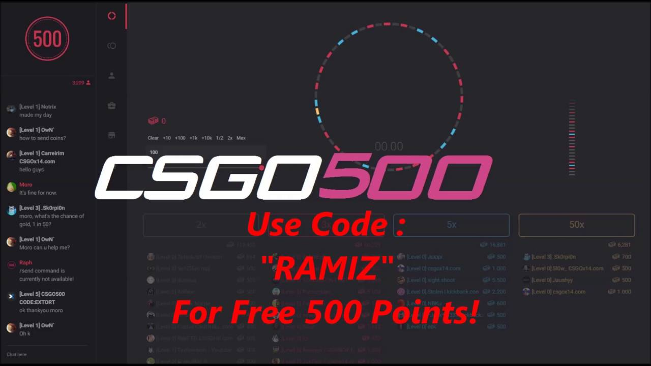 "CSGO500 - Referral Code Free ""RAMIZ"" Free 2,000 Bucks !!"