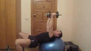 Тренировка грудных мышц дома :Урок 12 Разведение гантелей на фитболе
