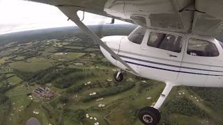 Student pilot solo flight around the Princeton practice area with intercom audio