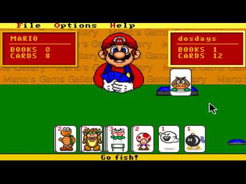 Beating Mario In A Card Game [Go Fish] (Mario's Game Gallery - MS-Dos, 1995)