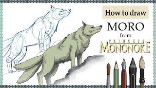 How to draw MORO (Princess Mononoke) - Mink