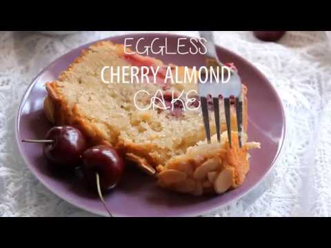 Eggless Cherry Almond Cake Recipe - Easy Eggless Loaf Cake Recipe