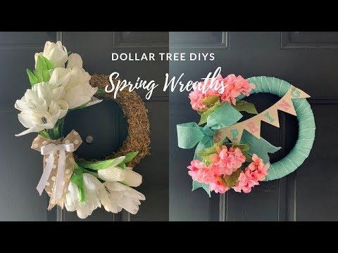 DOLLAR TREE DIY SPRING WREATHS|NEUTRAL FARMHOUSE
